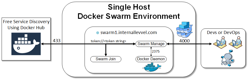 Docker Swarm Single Host Environment Reference Diagram