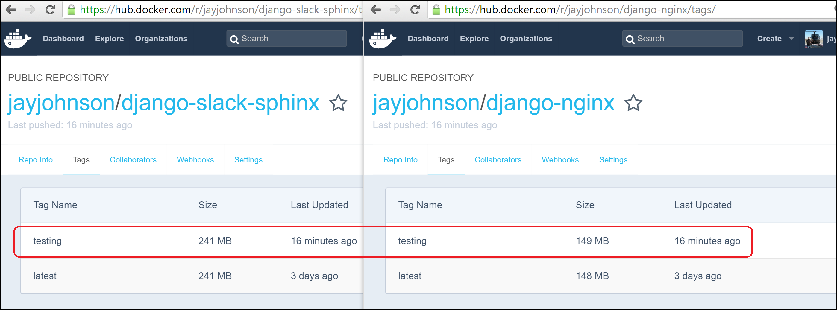 Docker Hub Test Images Ready